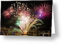 Portland Waterfront 4th Of July Fireworks Greeting Card