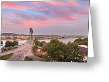 Portland Waterfront Hawthorne Bridge At Sunset Greeting Card
