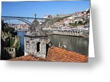 Porto And Gaia Cityscape In Portugal Greeting Card