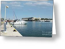 Porto Carras Harbor With Yacht And Resort Greeting Card
