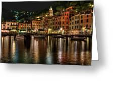 Portofino Bay By Night II - Notte Sulla Baia Di Portofino II Greeting Card