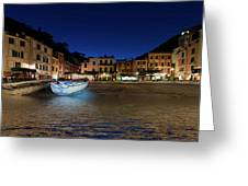Portofino Bay By Night IIi- Piazzetta Di Portofino By Night Greeting Card