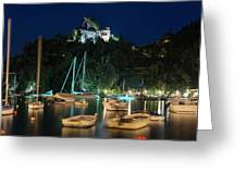 Portofino Bay By Night Iv - Castello Brown Castle Greeting Card