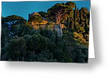 Portofino Bay By Night Vi - Castello Brown Greeting Card