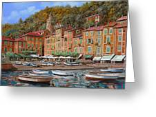 Portofino-la Piazzetta E Le Barche Greeting Card