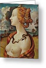 Portrait De Femme Dit De Simonetta Vespucci Greeting Card