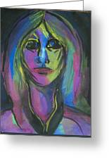 Portrait In Black And Blue Greeting Card