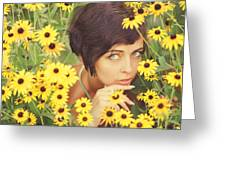 Portrait In Flowers Greeting Card