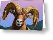Portrait Of A Bighorn Greeting Card by James W Johnson