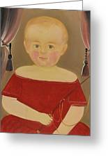 Portrait Of A Blonde Boy With Red Dress With Whip Greeting Card