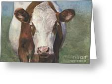 Portrait Of A Cow Iv Greeting Card