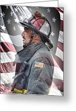 Portrait Of A Fire Fighter Greeting Card