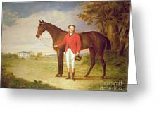 Portrait Of A Gentleman With His Horse Greeting Card