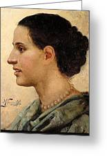 Portrait Of A Girl Henryk Semiradsky Greeting Card