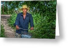 Portrait Of A Khmer Rice Farmer - Cambodia Greeting Card