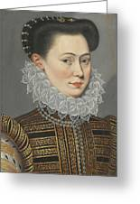 Portrait Of A Lady Head And Shoulders In A Lace Ruff Greeting Card