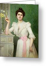Portrait Of A Lady Holding A Fan Greeting Card by Jules-Charles Aviat