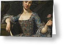 Portrait Of A Lady In An Elaborately Embroidered Blue Dress Greeting Card