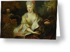 Portrait Of A Lady Seated In A Landscape With Her Pet Dog And A Monkey Greeting Card
