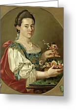 Portrait Of A Lady With A Flower Basket Greeting Card