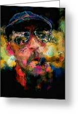 Portrait Of A Man In Sunglass Smoking A Cigar In The Sunshine Wearing A Hat And Riding A Motorcycle In Pink Green Yellow Black Blue Oil Paint With Raking Light To Pick Up Paint Texture Greeting Card