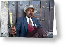 Portrait Of A Man Wearing A 1930s-style Suit And Smoking A Cigar In Havana Greeting Card by Sami Sarkis