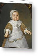 Portrait Of A One-year-old Girl Of The Van Der Burch Family Three-quarter Length Greeting Card