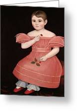 Portrait Of A Rosy Cheeked Young Girl In A Pink Dress Greeting Card