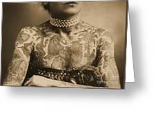 Portrait Of A Tattooed Woman Greeting Card