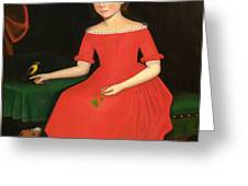 Portrait Of A Winsome Young Girl In Red With Green Slippers Dog And Bird Greeting Card