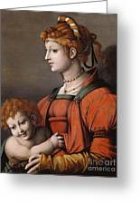 Portrait Of A Woman And Child - Allegory Of Liberality Greeting Card