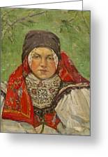 Portrait Of A Woman In A Red Scarf Greeting Card