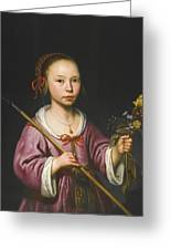 Portrait Of A Young Girl As A Shepherdess Holding A Sprig Of Flowers Greeting Card