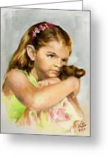 Portrait Of A Young Girl With Toy Bear Greeting Card
