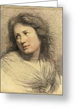 Portrait Of A Young Woman Looking Over Her Shoulder Greeting Card
