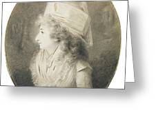 Portrait Of An Elegant Lady In Profile, Wearing A Hat Greeting Card