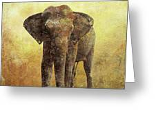 Portrait Of An Elephant Digital Painting With Detailed Texture Greeting Card
