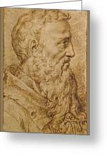 Portrait Of Baccio Bandinelli In Profile To The Right Greeting Card