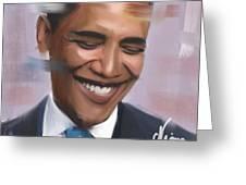Portrait Of Barack Obama Greeting Card
