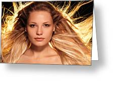 Portrait Of Beautiful Woman Face With Glowing Golden Blond Hair Greeting Card