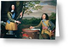 Portrait Of Charles I And Sir Edward Walker Greeting Card