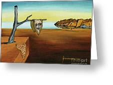 Portrait Of Dali The Persistence Of Memory Greeting Card