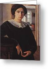 Portrait Of E K Lansere Zinaida Serebryakova Greeting Card