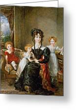 Portrait Of Elizabeth Lea And Her Children Greeting Card