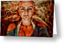 Portrait Of Female With Hair Billowing Everywhere In Radiant Unsmiling Sharp Features Golden Warm Colors And Upturned Nose Curls And Aliens Of The Departure Greeting Card