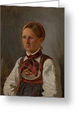 Portrait Of Gunild Olsdatter From Tinn Greeting Card
