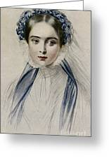 Portrait Of Her Majesty Queen Victoria As A Young Woman By Emile Desmaisons Greeting Card