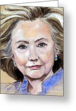 Pastel Portrait Of Hillary Clinton Greeting Card