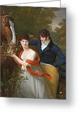 Portrait Of Jean-louis Gustave D'hautefort And His Sister Marie-therese-thais D'hautefort Greeting Card