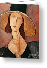 Portrait Of Jeanne Hebuterne In A Large Hat Greeting Card